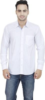 LEAF Men's Solid Formal White, Dark Blue Shirt