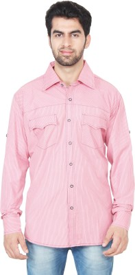 Swiss Culture Men's Striped Casual Pink Shirt