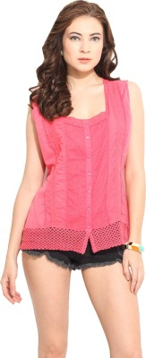 Free & Young Women's Embroidered Casual Pink Shirt