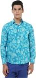Oxolloxo Men's Printed Casual Blue Shirt