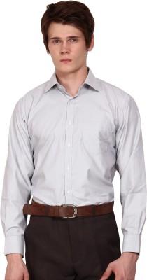 I-Voc Men's Striped Formal Black, White Shirt