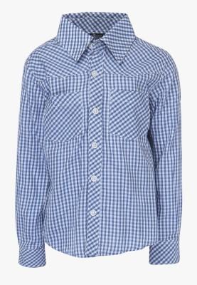 Cool Quotient Boy's Self Design Casual Reversible Blue Shirt