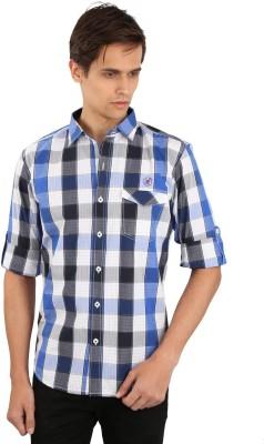 Eden Elliot Men's Checkered Casual Blue, Black Shirt