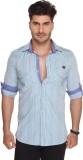 Ramarrow Men's Striped Casual Blue Shirt