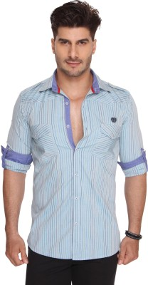 Ramarrow Mens Striped Casual Blue Shirt