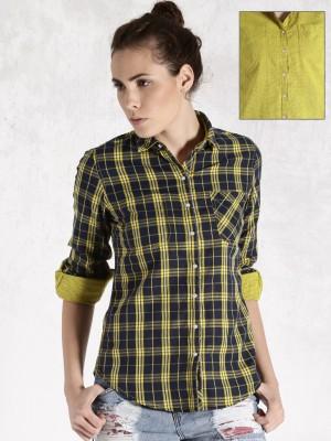 Roadster Women's Checkered Casual Reversible Dark Blue Shirt