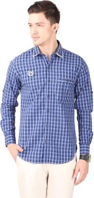 Cotton County Men's Checkered Casual Purple Shirt