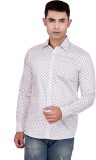 FDS Men's Printed Casual White Shirt