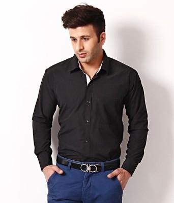 Regalfit Men's Solid Formal, Casual Black Shirt