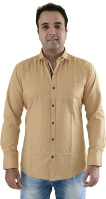 Kings Republic Men's Solid Casual Beige Shirt