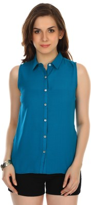 Colors Couture Women's Solid Casual Green Shirt