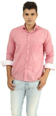 Frissk Men's Solid Casual Pink, White Shirt