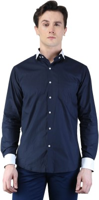 Magnoguy Men's Self Design Casual Blue, White Shirt