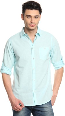 Cotton World Men's Solid Casual Light Blue Shirt