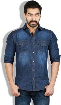 Goswhit Men's Solid Casual Denim Dark Blue, Blue Shirt