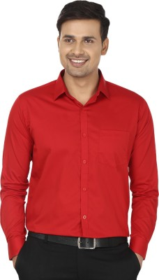 Edinwolf Men's Solid Formal Red Shirt
