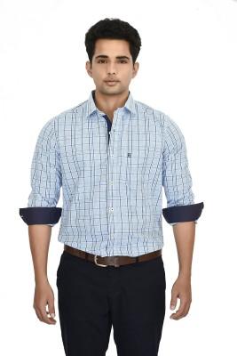 Hackensack Men's Checkered Casual Light Blue Shirt