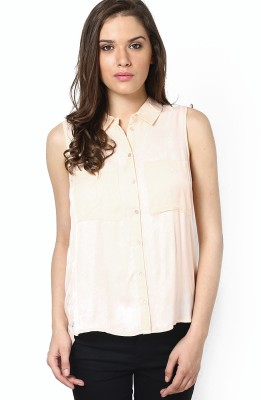 Only Womens Solid Casual Beige Shirt