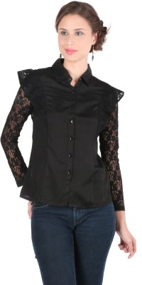 Remanika Women,s Solid Casual Black Shirt