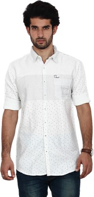FRD13 Men's Polka Print Casual White Shirt