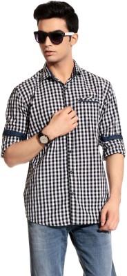 Goodkarma Men's Self Design Casual Black, White Shirt