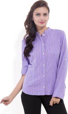 Goodwill Impex Women's Striped Formal Purple Shirt