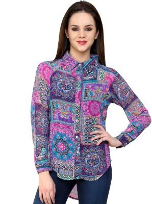 Shilpkala Women's Printed Formal Blue, Pink Shirt