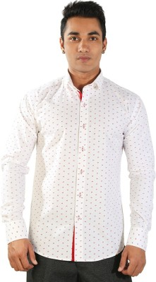 Just Differ Men's Self Design Formal White Shirt