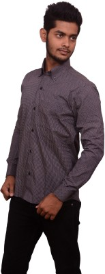 Signore Men's Printed Formal Purple Shirt
