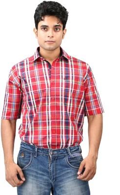 Relish Men's Solid, Checkered Formal Red, Dark Blue Shirt