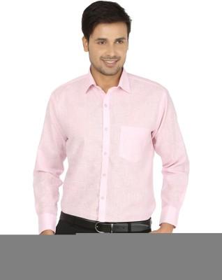X-Cross Men's Self Design Formal Pink Shirt