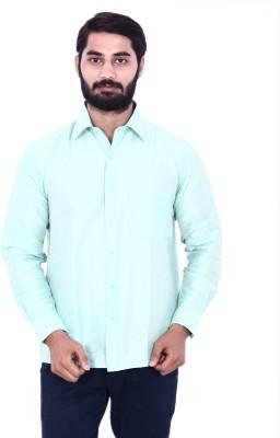 KENRICH Men's Solid Casual Light Green Shirt