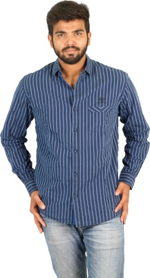 Groove Men's Striped Casual Blue, Red Shirt