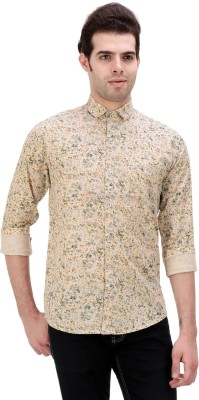 One Sphere Men's Printed Casual Yellow Shirt