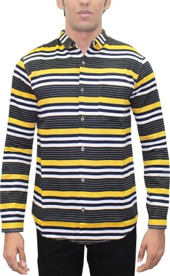 Kuons Avenue Men's Striped, Printed Casual Yellow, Black, Gold Shirt