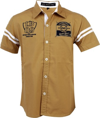 Lumber Boy Boy,s Printed, Embroidered Casual Brown Shirt