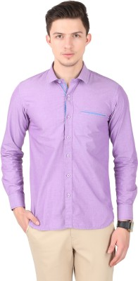 Cotton County Men's Solid Casual Purple Shirt