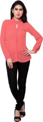SFDS Women's Solid Casual Pink Shirt