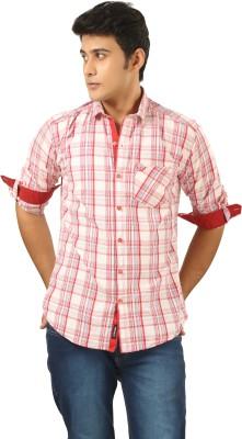 PraadoFashion Men's Checkered Casual Pink, White Shirt
