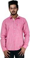 Spex Jet Formal Shirts (Men's) - Spex Jet Men's Solid Formal Linen Pink Shirt