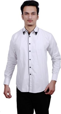Fadjuice Men's Solid Casual White Shirt