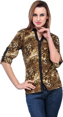 Color Cocktail Women's Animal Print Casual Brown, Black Shirt