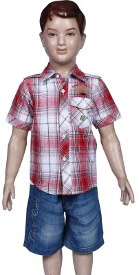 Chutti Pluss Boy's Checkered Casual Red Shirt
