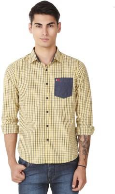 4 Stripes Men's Checkered Casual Yellow Shirt