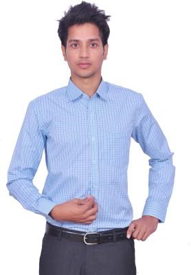 Leaf Mens Checkered Casual Blue Shirt