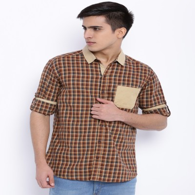 Le Bison Men's Checkered Casual Green Shirt