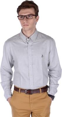 FRANK JEFFERSON Men's Solid Casual Grey Shirt