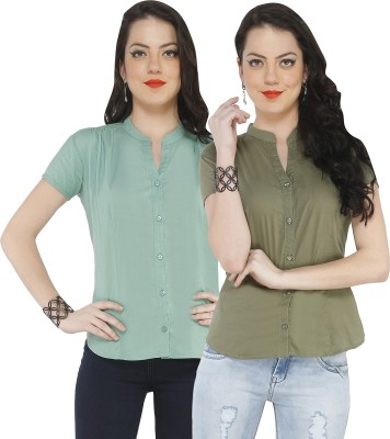 The Cotton Company Women,s Solid Casual, Formal Green, Blue Shirt
