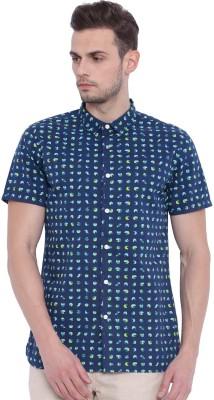 Chumbak Men's Printed Casual Blue Shirt