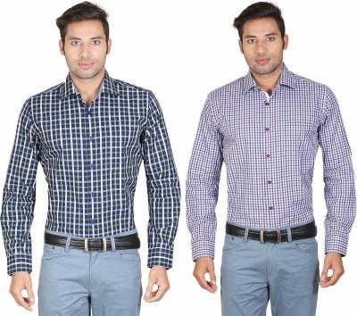 Don Vino Men's Checkered, Woven Casual Blue, Green, Yellow, White, Purple Shirt